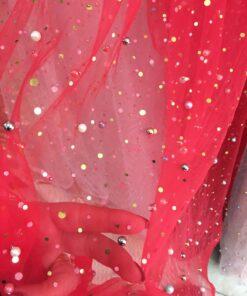 Tiul cu perle si paiete mici colorate