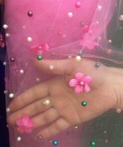 Tull roz cu perle si flori pret
