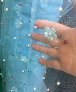 Tull cu perle colorate turcoaz