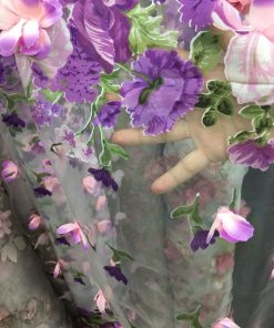 Organza cu flori metraj