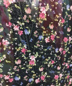 Voal imprimat cu flori la metru