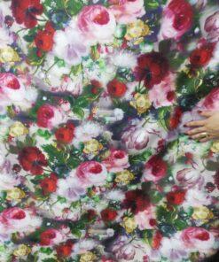 Tafta cu flori imprimate