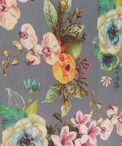 Satin imprimat cu flori
